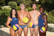 (L-R) Team USA athletes Maggie Steffens, Jesse Smith, Alex Bowen and Ashleigh Johnson celebrate the two year countdown to the 2020 Olympic Games in Tokyo at the Japanese American Community Center on July 24, 2018 in Los Angeles, California.