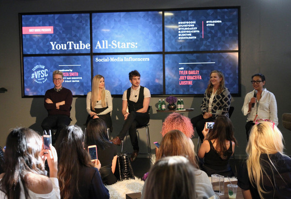 """Vanity Fair Campaign Hollywood Social Club - """"YouTube All Stars:"""" Social Media Influencers Panel Discussion [vanity fair,event,convention,collaboration,news conference,academic conference,presentation,conversation,seminar,crowd,stage equipment,krista smith,personalities,youtube all stars:,youtube,creative services,associate publisher integrated marketing,vanity fair campaign hollywood social club,social media,influencers panel discussion]"""