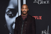 """Mehcad Brooks attends the premiere of Tyler Perry's """"A Fall From Grace"""" at Metrograph on January 13, 2020 in New York City."""