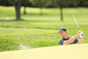 Justin Rose of England plays from a greenside bunker during a practice round prior to the 120th U.S. Open Championship on September 15, 2020 at Winged Foot Golf Club in Mamaroneck, New York.