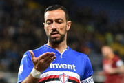 Fabio Quagliarella of UC Sampdoria during the Serie A match between UC Sampdoria and AS Roma at Stadio Luigi Ferraris on April 6, 2019 in Genoa, Italy.