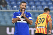Fabio Quagliarella of UC Sampdoria reacts during the Serie A match between UC Sampdoria and US Lecce at Stadio Luigi Ferraris on October 30, 2019 in Genoa, Italy.