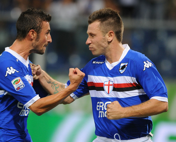 Antonio Cassano of UC Sampdoria celebrates scoring his team's first goal by penalty with team mate Stefano Guberti during the Serie A match between UC Sampdoria and SS  Lazio at Stadio Luigi Ferraris on August 29, 2010 in Genoa, Italy.