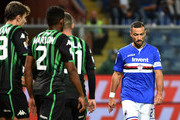 Disappointment for Fabio Quagliarella of Sampdoria during the Serie A match between UC Sampdoria and US Sassuolo at Stadio Luigi Ferraris on October 22, 2018 in Genoa, Italy.