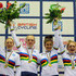 Hayley Jones Photos - (l to r) Emily Nelson, Amy Hill, Hayley Jones and Emily Kay celebrates on the podium after winning the Women's 4k Team Pursuit during on day two of the 2013 UCI Juniors Track World Championship at the Sir Chris Hoy Velodrome on August 8, 2013 in Glasgow, Scotland. - UCI Juniors Track World Championships: Day 2