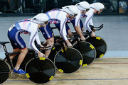 Ed Clancy, Steven Burke, Owain Doull and Andrew Tennant of Great Britain Cycling Team compete in the Men's Team Pursuit qualifying round during day 1 of the UCI Track Cycling World Championships held at National Velodrome on February 18, 2015 in Paris, France.