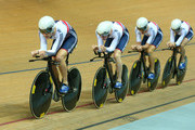 Steven Burke, Ed Clancy, Owain Doull and Andrew Tennant of the Great Britain Cycling Team compete in the Men's Team Pursuit First Round during day two of the UCI Track Cycling World Championships at the National Velodrome on February 19, 2015 in Paris, France.