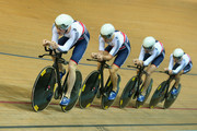 Ed Clancy, Steven Burke, Owain Doull and Andrew Tennant of the Great Britain Cycling Team compete in the Men's Team Pursuit First Round during day two of the UCI Track Cycling World Championships at the National Velodrome on February 19, 2015 in Paris, France.