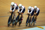 (L-R) Andy Tennant, Owain Doull, Ed Clancy and Steven Burke of Great Britain in action during the Men's Team Pursuit Qualifying round on day one of the UCI Track Cycling World Cup at Manchester Velodrome on November 1, 2013 in Manchester, England.