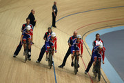 The Men's pursuit team of (l to r) Geraint Thomas, Peter Kennaugh, Steven Burke and Ed Clancy start a practice run during the UCI Track Cycling World Cup - LOCOG Test Event for London 2012 Media Day at the London Olympic Velodrome on February 14, 2012 in London, England.