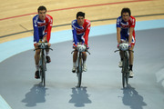 The Great Britain Men's Pursuit team of (l to r) Steven Burke, Peter Kennaugh and Geraint Thomas cool down during training for the UCI Track Cycling World Cup - LOCOG Test Event for London 2012 Media Day at the London Olympic Velodrome on February 14, 2012 in London, England.