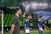 Heinekenn Ambassador Ruud Van Nistelrooy watches Cambodian football players during the UEFA Champions League Trophy Tour presented by Heinekenn on April 3, 2017 in Phnom Penh, Cambodia.