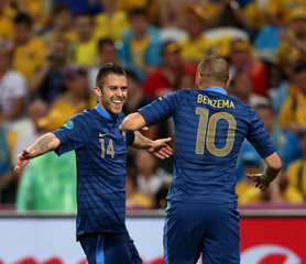 Karim Benzema Jeremy Menez UEFA EURO 2012 - Matchday 8 - Pictures Of The Day