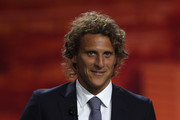 Diego Forlan of Atletico Madrid and Uruguay receives a plaque for scoring the winning goal in last seasons Europa League final during the UEFA Europa League Group Stage Draw at the Grimaldi Forum on August 27, 2010 in Monaco, Monaco.
