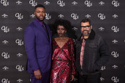 """(L-R) Winston Duke, Lupita Nyong'o and director and screenwriter Jordan Peele attend UK exclusive screening of """"Us"""" at Picturehouse Central on March 14, 2019 in London, England."""