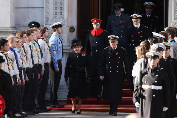 Queen Elizabeth II, and Prince Philip, Duke of Edinburgh attend the Remembrance Sunday service at the Cenotaph on Whitehall  on November 11, 2012 in London, United Kingdom. Remembrance Sunday tributes were carried out across the nation to pay respects to all who those who lost their lives in current and past conflicts, including the First and Second World Wars.