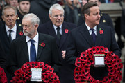 Labour leader Jeremy Corbyn and British Prime Minister David Cameron attend the annual Remembrance Sunday Service at the Cenotaph on Whitehall on November 8, 2015 in London, United Kingdom. People across the UK gather to pay tribute to service personnel who have died in the two World Wars and subsequent conflicts.