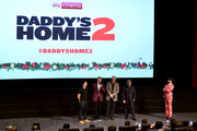 (R-L) Alex Zane, Mel Gibson, John Lithgow, Will Ferrell and Mark Wahlberg attend the UK Premiere of 'Daddy's Home 2' at Vue West End on November 16, 2017 in London, England.