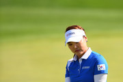 So Yeon Ryu of South Korea reacts after  a putt on the 8th green during the Singles match against Lexi Thompson of the United States on day four of the UL International Crown at Jack Nicklaus Golf Club on October 7, 2018 in Incheon, South Korea.