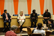 (L-R) Ken Payumo, Pernille Ironside, Emmanuel Jal and Kinan Azmeh speak at the UN Celebrates World Humanitarian Day at United Nations on August 19, 2014 in New York City.
