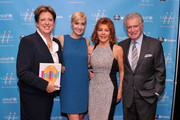 (L-R) President and CEO of the US Fund for UNICEF Caryl M. Stern, UNICEF author Hilary Gumbel, television personality Joy Philbin and actor Regis Philbin attend UNICHEF Book Party at The Lamb's Club on September 15, 2014 in New York City.