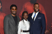 """(L-R) Yahya Abdul-Mateen II, Lupita Nyong'o and Winston Duke attend the """"US"""" premiere at Museum of Modern Art on March 19, 2019 in New York City."""