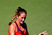 Bojana Jovanovski of Serbia returns a shot against Jelena Jankovic of Serbia during her women's singles first round match on Day One of the 2014 US Open at the USTA Billie Jean King National Tennis Center on August 25, 2014  in the Flushing neighborhood of the Queens borough of New York City.