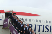 (L-R) Vice-Captains Steve Stricker, Andy North and Raymond Floyd pose with Bubba Watson, Jimmy Walker, Jordan Spieth, Webb Simpson, Patrick Reed, Phil Mickelson, Hunter Mahan, Matt Kuchar, Zach Johnson, Jim Furyk, Rickie Fowler, Keegan Bradley and Tom Watson, Captain of the United States team after arriving at Edinburgh Airport ahead of the 2014 Ryder Cup at Gleneagles on September 22, 2014 in Edinburgh, Scotland.