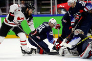 Keith Kinkaid, goaltender of the United States tends net against Ryan O'Reilly #90 of Canada during the 2018 IIHF Ice Hockey World Championship Bronze Medal Game game between the United States and Canada at Royal Arena on May 20, 2018 in Copenhagen, Denmark.