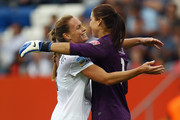 Christie Rampone (L) and goalkeeper Hope Solo of USA celebrate after the FIFA Women's World Cup 2011 Group C match between USA and Colombia at the Fifa Womens World Cup Stadium on July 2, 2011 in Sinsheim, Germany.