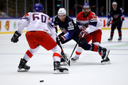 Blake Coleman #24 of the United States and Tomas Plekanec #14 of Czech Republic battle for the puck during the 2018 IIHF Ice Hockey World Championship Quarter Final game between United States and Czech Republic at Jyske Bank Boxen on May 17, 2018 in Herning, Denmark.