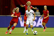 Tobin Heath #17 of the United States moves the ball against Germany in the first half in the FIFA Women's World Cup 2015 Semi-Final Match at Olympic Stadium on June 30, 2015 in Montreal, Canada.