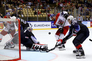 Keith Kinkaid, goaltender of the United States tends net against David Krejci of Czech Republic during the 2018 IIHF Ice Hockey World Championship Quarter Final game between United States and Czech Republic at Jyske Bank Boxen on May 17, 2018 in Herning, Denmark.
