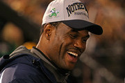 Former NBA player David Robinson, whose son Corey plays for the Notre Dame Fighting Irish, talks with fans before a game between Notre Dame and the University of Southern Califonia Trojans at Notre Dame Stadium on October 19, 2013 in South Bend, Indiana.