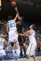 Alex Stepheson #1 of  the USC Trojans shoots over Tyler Honeycutt #23 of the UCLA Bruins on January 16, 2010 at Pauley Pavillion in Westwood, California.