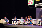 (L-R)  Jessica Shaw, moderator Entertainment Weekly, Silvio Horta, Tony Plana, Mark Indelicato, Ana Ortiz, America Ferrera, and Eric Mabius attend the Ugly Betty Reunion presented with Entertainment Weekly at the ATX Television Festival in Austin, TX on Saturday, June 11, 2016.