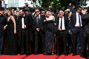 (L-R) Andre Wilms, guest, Valeria Bruni Tedeschi,  Xavier Beauvois, Celine Sallette, Xavier Beauvois, Louis Garrel, Marisa Borini, and Filippo Timi attend the premiere for 'Un Chateau en Italie' during the 66th Annual Cannes Film Festival at Palais des Festivals on May 20, 2013 in Cannes, France.