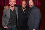 """Moderator Nic Harcourt, composer Quincy Jones and director Joe Berlinger attend a special screening of A&E Entertainment's """"Under African Skies"""" on June 8, 2012 in Los Angeles, California."""