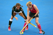 Selin Oruz of Germany battles with Fiona Bruce of Scotland during match 7 between Scotland and Germany on day four of the Unibet EuroHockey Championships at Lee Valley Hockey and Tennis Centre on August 24, 2015 in London, England.