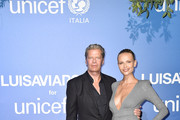 Peter Bakker and Natasha Poly attend the photocall at the Unicef Summer Gala Presented by Luisaviaroma at  on August 09, 2019 in Porto Cervo, Italy.