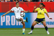 Tobin Heath #17 of the United States controls the ball against Catalina Usme #11 of Colombia in the second half  in the FIFA Women's World Cup 2015 Round of 16 match at Commonwealth Stadium on June 22, 2015 in Edmonton, Canada.