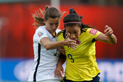 Orianica Velasquez #9 of Colombia controls the ball against Tobin Heath #17 of the United States in the first half in the FIFA Women's World Cup 2015 Round of 16 match at Commonwealth Stadium on June 22, 2015 in Edmonton, Canada.