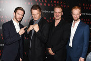 (L-R) Actors Dan Stevens, Liam Neeson, David Harbor and Adam David Thompson attend the Universal Pictures and Cross Creek Pictures with The Cinema Society screening of 'A Walk Among the Tombstones' at Chelsea Bow Tie Cinemas on September 17, 2014 in New York City.