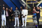 (L-R) Vin Diesel, Sung Kang, Michelle Rodriguez, Ludacris, Jordana Brewster, Tyrese Gibson, Nathalie Emmanuel and John Cena speak onstage during Universal Pictures Presents The Road To F9 Concert and Trailer Drop on January 31, 2020 in Miami, Florida.