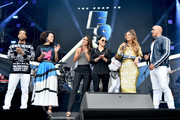 (L-R) Ludacris, Nathalie Emmanuel, Jordana Brewster, Michelle Rodriguez, Maria Menounos and Vin Diesel speak onstage during Universal Pictures Presents The Road To F9 Concert and Trailer Drop on January 31, 2020 in Miami, Florida.