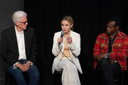 """(L-R) Ted Dansen, Kristen Bell, William Jackson Harper speak at Universal Television's """"The Good Place"""" FYC panel at UCB Sunset Theater on June 17, 2019 in Los Angeles, California."""