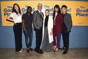 "D'Arcy Carden, William Jackson Harper, Ted Danson, Kristen Bell, Jameela Jamil and Manny Jacinto attend Universal Television's FYC ""The Good Place"" at UCB Sunset Theater on June 19, 2018 in Los Angeles, California."