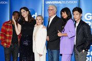 """(L-R) Marc Evan Jackson, William Jackson Harper, D'Arcy Carden, Kristen Bell, Ted Danson, Jameela Jamil and Manny Jacinto attend Universal Television's """"The Good Place"""" FYC at UCB Sunset Theater on June 17, 2019 in Los Angeles, California."""
