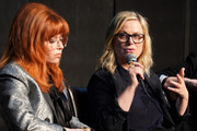 "Amy Poehler (R) and Natasha Lyonne participate in Universal Television's ""Russian Doll"" FYC panel at UCB Sunset Theater on June 03, 2019 in Los Angeles, California."
