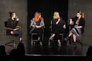 "(L-R) Rebecca Sun,Natasha Lyonne, Amy Poehler and Leslye Headland participate in Universal Television's ""Russian Doll"" FYC panel at UCB Sunset Theater on June 03, 2019 in Los Angeles, California."